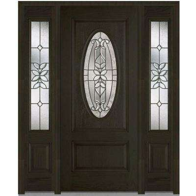 1 Panel Single Door With Sidelites Dark Brown Wood Front Doors