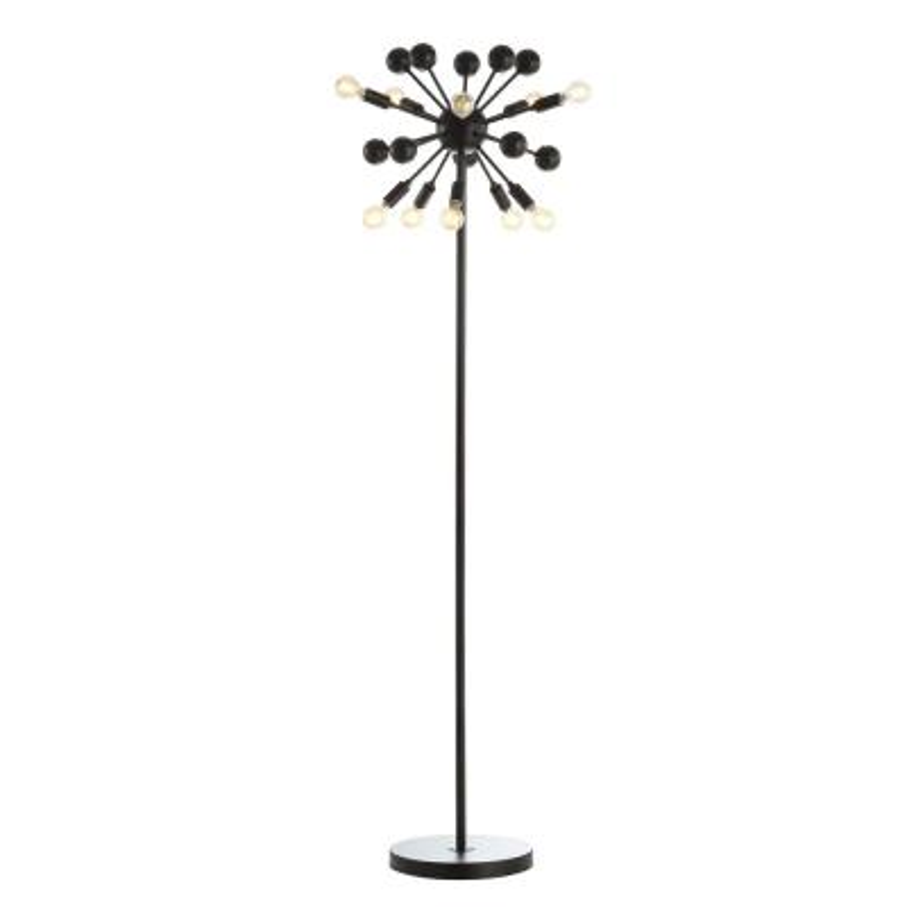 Orbit 10-Light 63 in. Black Modern Sputnik Metal LED Floor Lamp