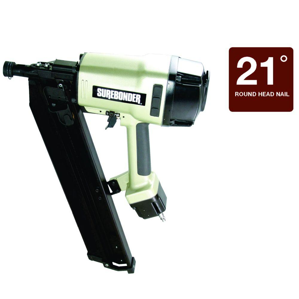 Surebonder Pneumatic 2 in. - 3-1/2 in. 21 Degree Plastic Collated Round Head Framing Nailer with Case