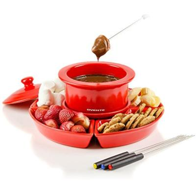 Red, 1 -Liter Electric Cheese or Chocolate Fondue Melting Pots and Warmer Set