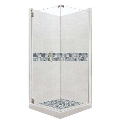 Newport Grand Hinged 38 in. x 38 in. x 80 in. Left-Hand Corner Shower Kit in Natural Buff and Satin Nickel Hardware
