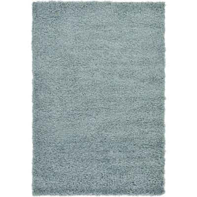 Solid Shag Slate Blue 4 ft. x 6 ft. Area Rug