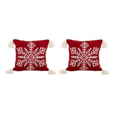 Glitzhome 18 In H Knitted Snowflake Acrylic Red Pillow Cover With Tassels 2 Pack 2004800013 The Home Depot