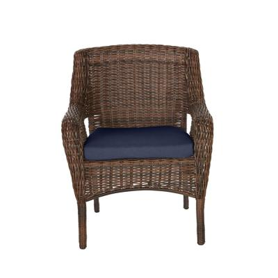 Cambridge Brown Wicker Outdoor Patio Dining Chair with CushionGuard Midnight Navy Blue Cushions (2-Pack)
