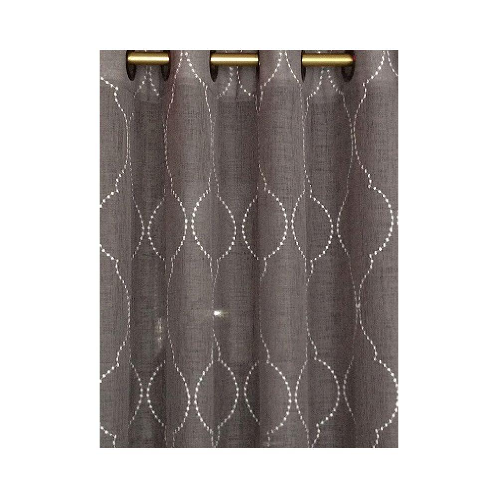 Home Decorators Collection Semi-Opaque Beige Hourglass Embroidered Lined Curtain, 50 in. W x 84 in. L