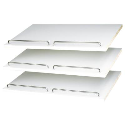 14 in. D x 24 in. W x 0.625 in. H Classic White Shoe Shelf (3-Pack)