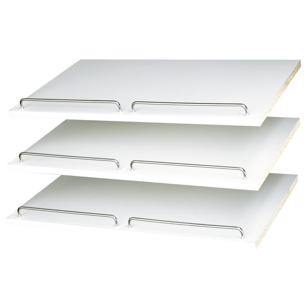 14 in. D x 24 in. W x 0.625 in. H Classic White Shoe Shelf (3-Pack)