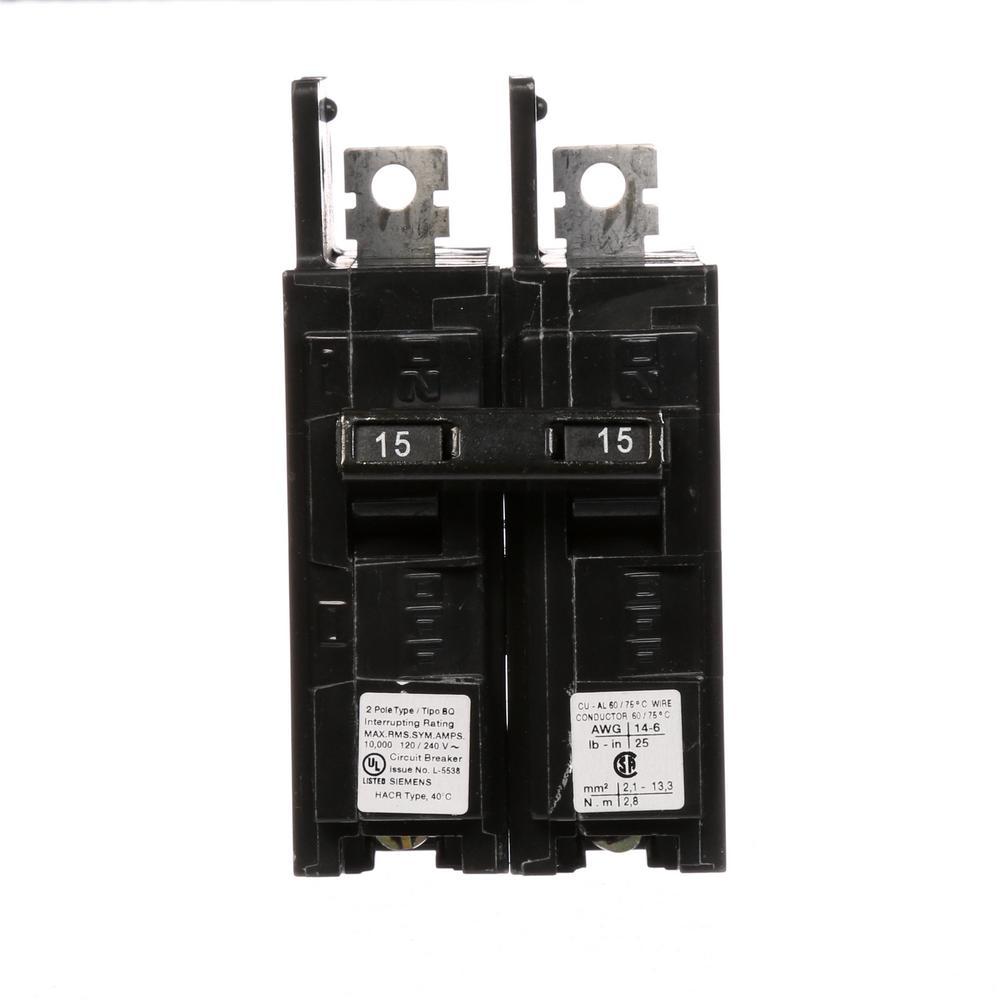 15 Amp 2-Pole Type BQ 10 kA Lug-In/Lug-Out Circuit Breaker
