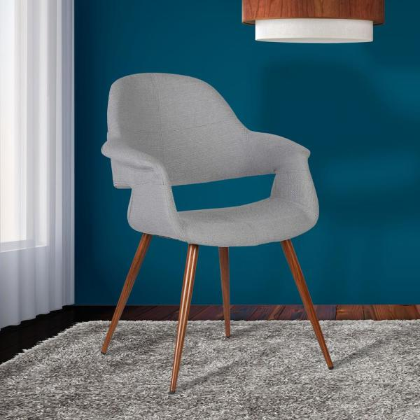 Armen Living Phoebe 33 in. Gray Fabric and Walnut Wood Finish