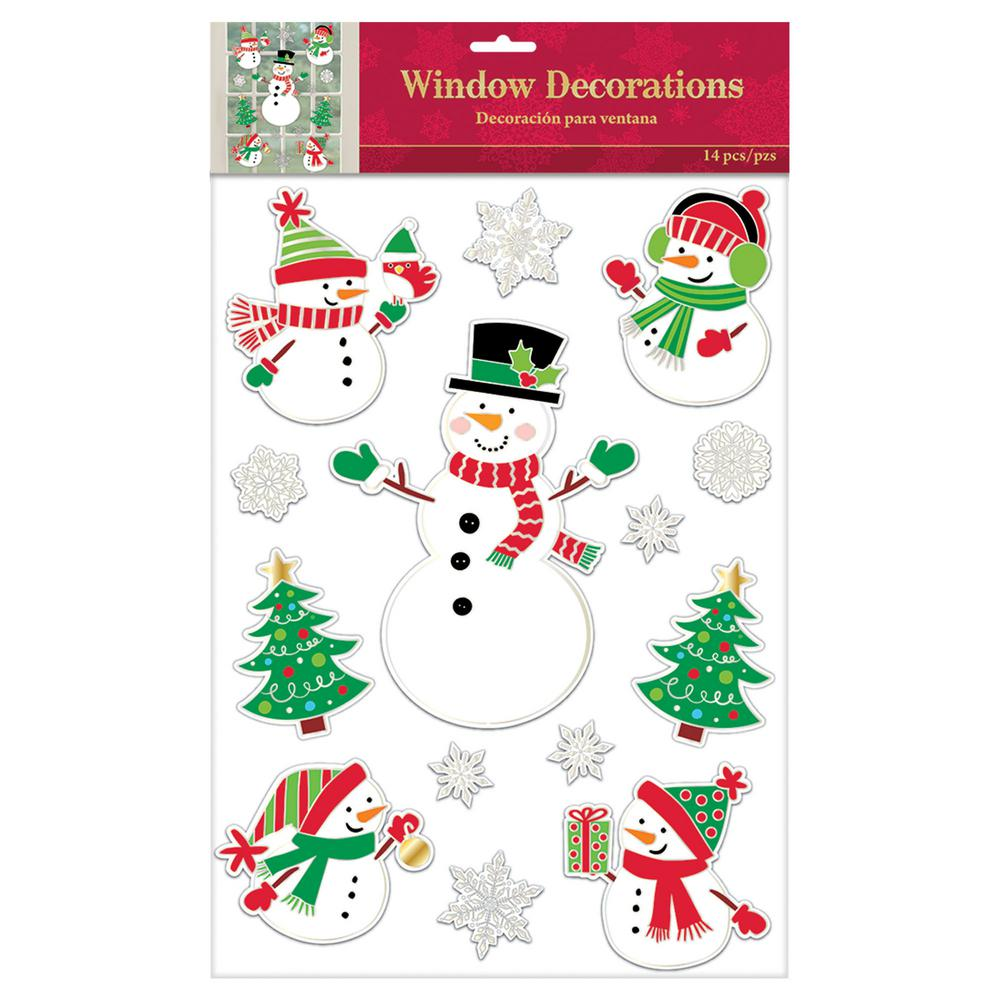 amscan christmas snowman embossed foil window clings 3 pack - Christmas Window Decorations