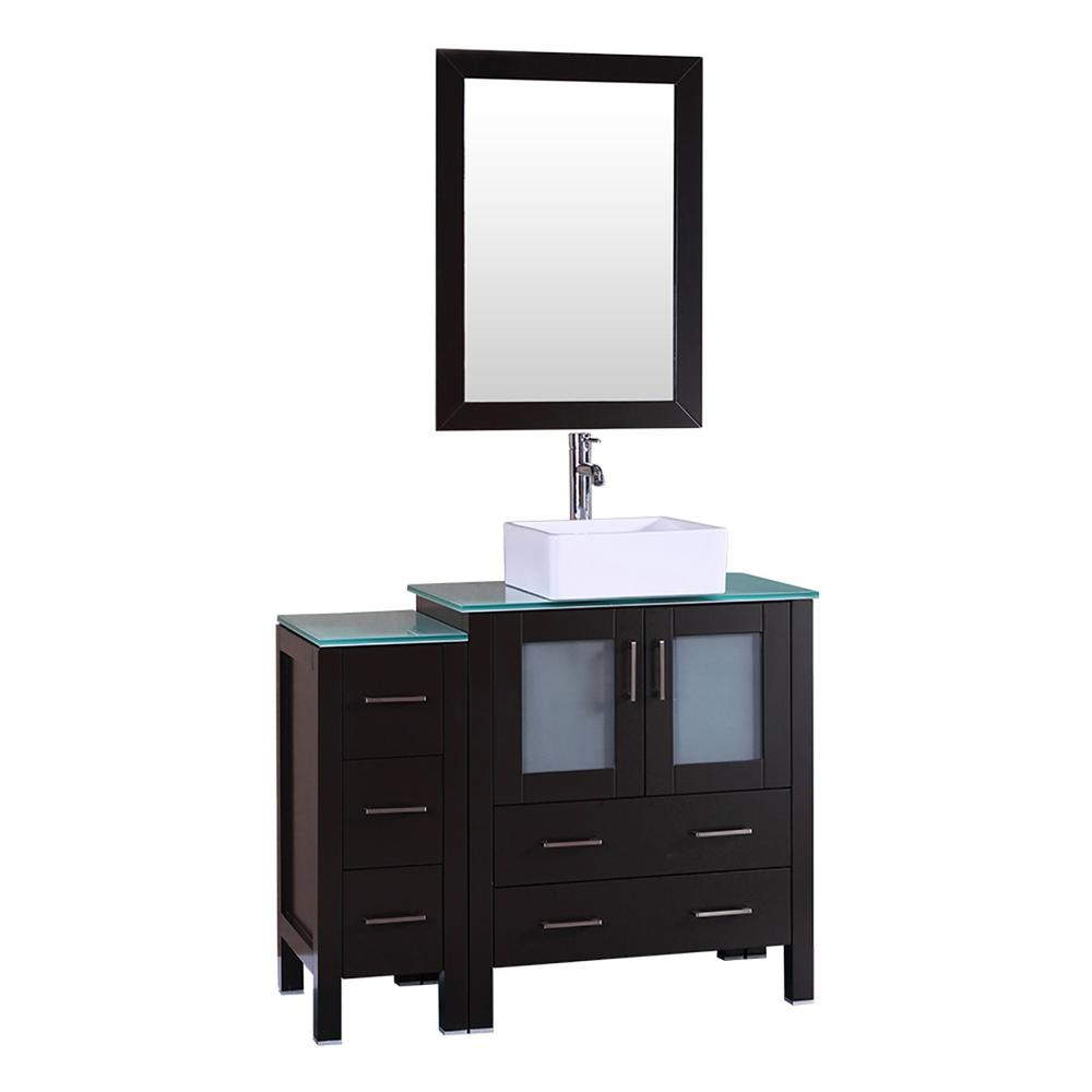 Bosconi 42 in. W Single Bath Vanity with Tempered Glass Vanity Top in Green with White Basin and Mirror