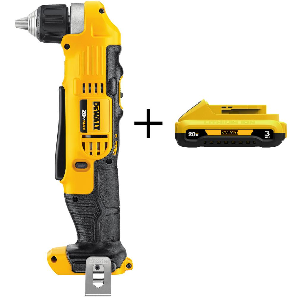 DEWALT 3/8 in. 20-Volt MAX Lithium-Ion Cordless Right Angle Drill with Bonus Compact Battery Pack 3.0 Ah