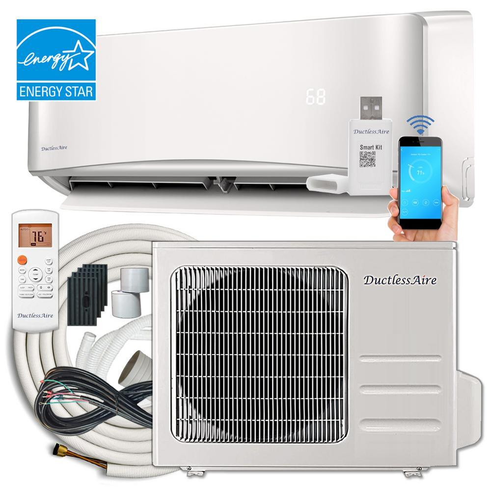 DuctlessAire Energy Star 18,000 BTU 1.5 Ton Ductless Mini Split Air Conditioner and Heat Pump Variable Speed Inverter - 220V/60Hz