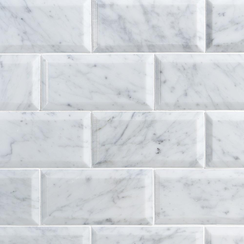 Ivy Hill Tile White Carrara Beveled 3