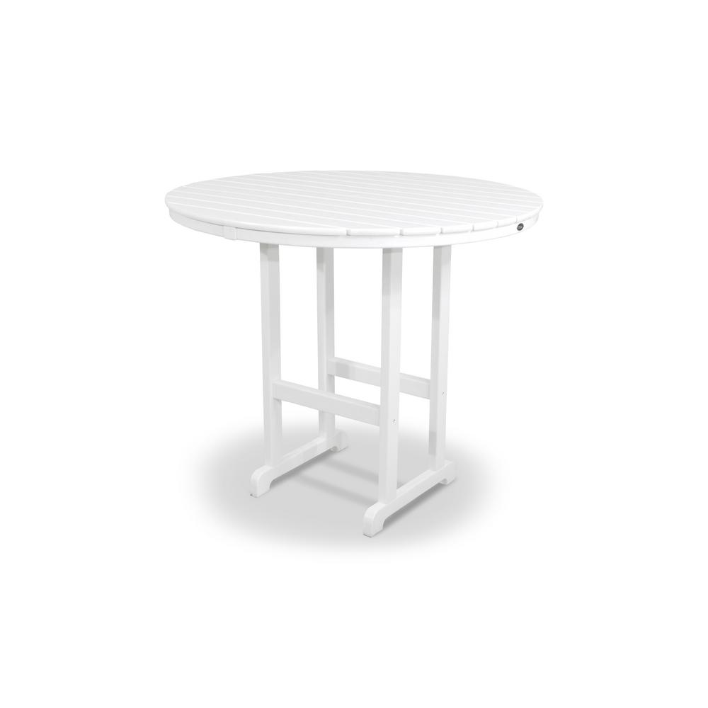 Monterey Bay Classic White 48 in. Round Patio Bar Table