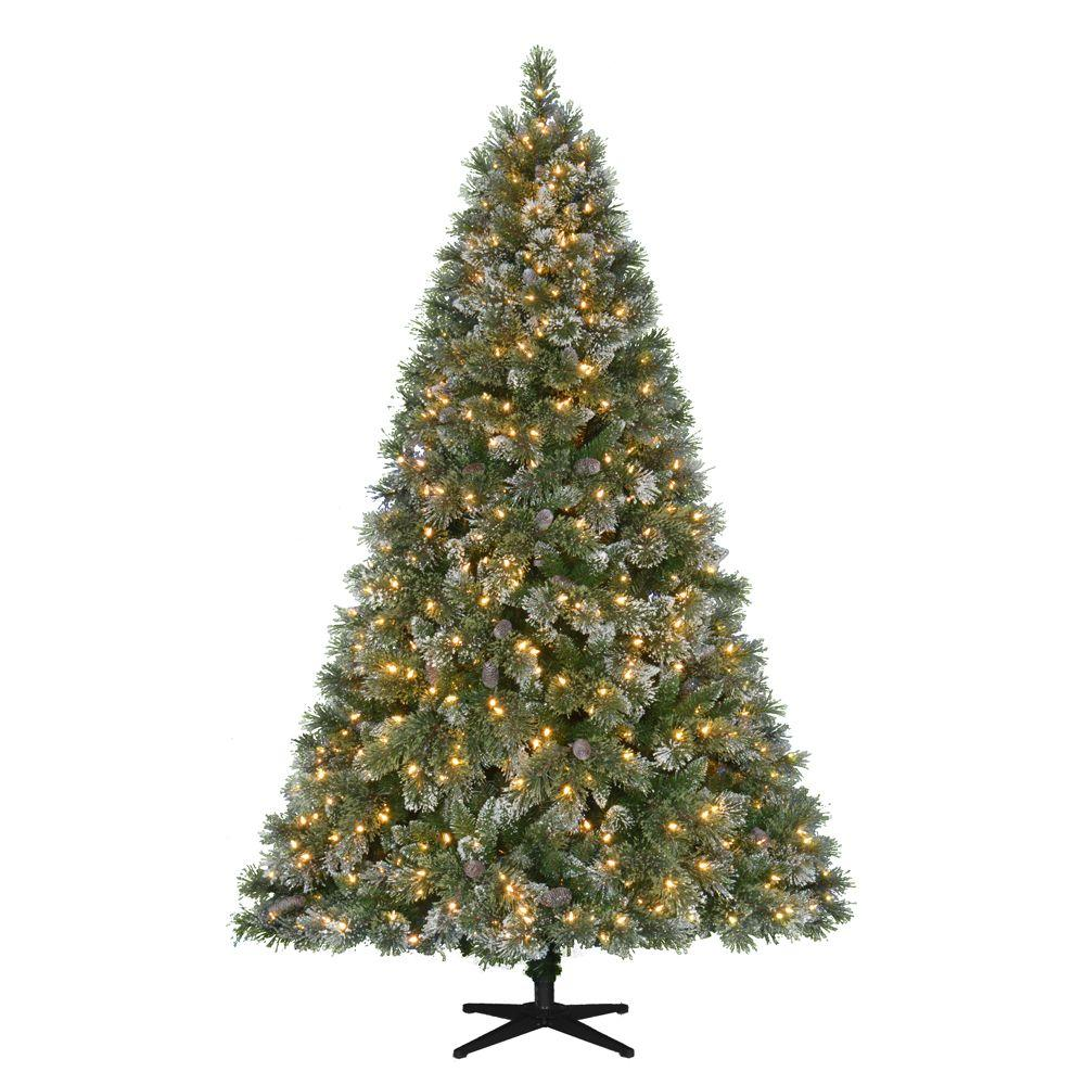 Martha Stewart Living 7.5 ft. Pre-Lit LED Sparkling Pine Quick-Set ...