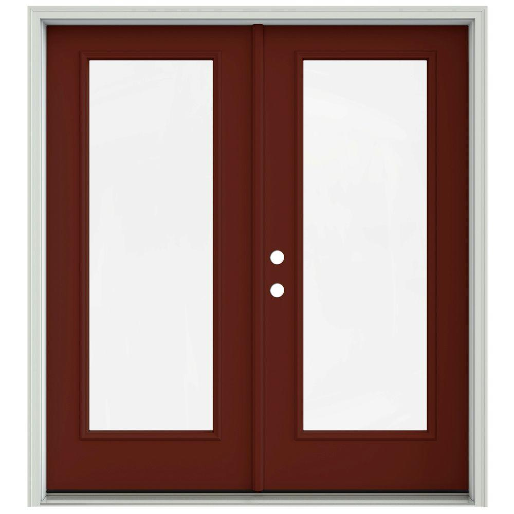 Jeld Wen 72 In X 80 In Mesa Red Prehung Right Hand Inswing 1 Lite French Patio Door With