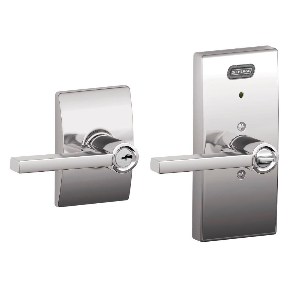 Schlage Century Collection Latitude Bright Chrome Keyed Entry Lever with Built-In Alarm