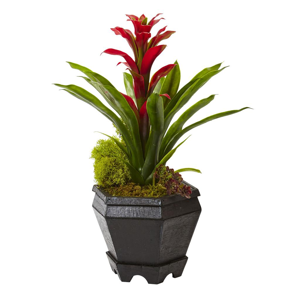Nearly Natural 16.5 in. Bromeliad in Black Hexagon Planter in Red