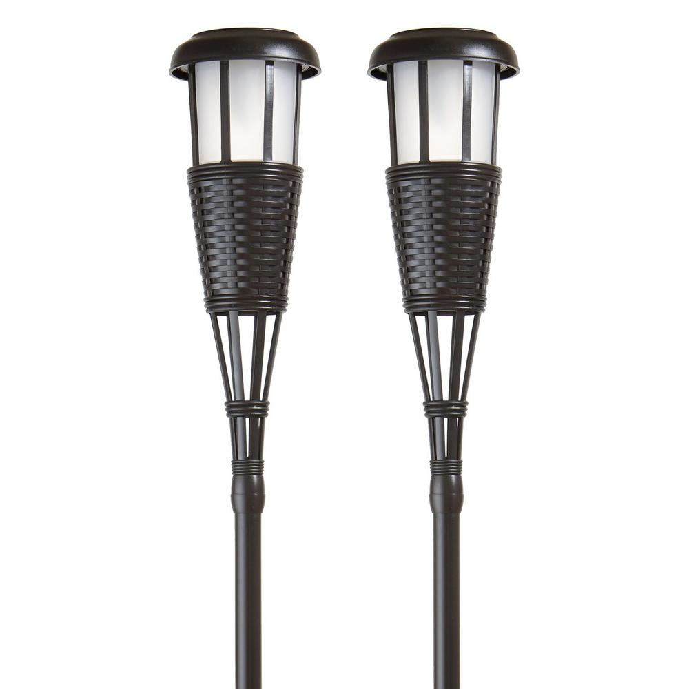 Brown Solar Flickering LED Island Torches (2-Pack)