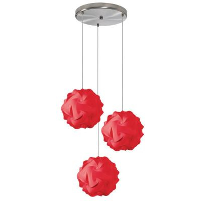 Dainolite Globus 3-Light Red Pendant with Laminated Fabric Shades