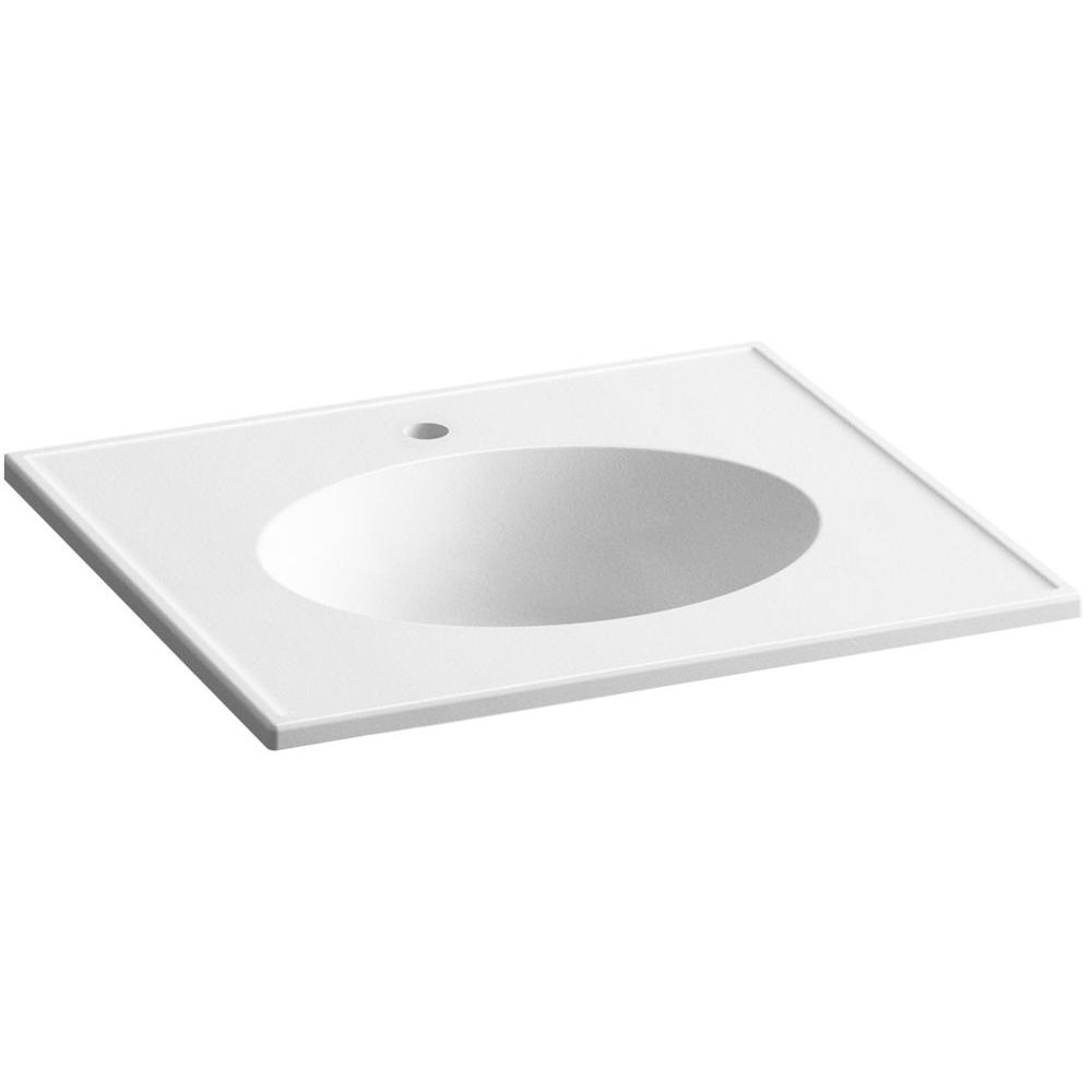 KOHLER Ceramic/Impressions 25 in. Single Faucet Hole Vitreous China Vanity Top with Basin in White Impressions