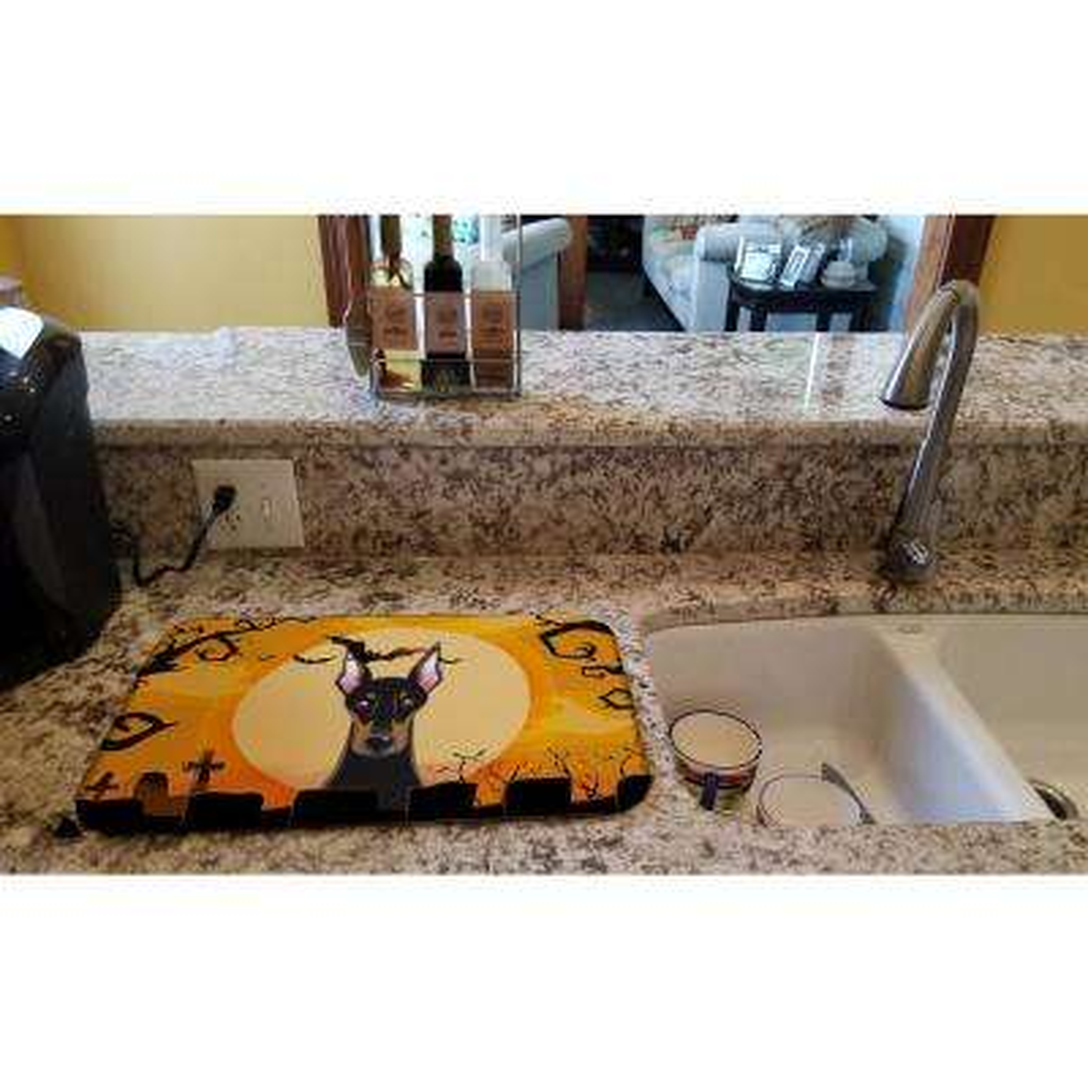 14 in. x 21 in. Multicolor Halloween Doberman Dish Drying Mat