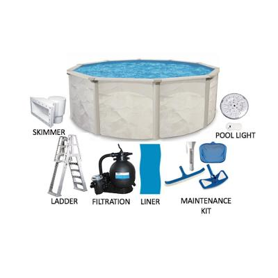 Independence 27 ft. Round 52 in. Deep Hard Side Metal Wall Above Ground Swimming Pool Package
