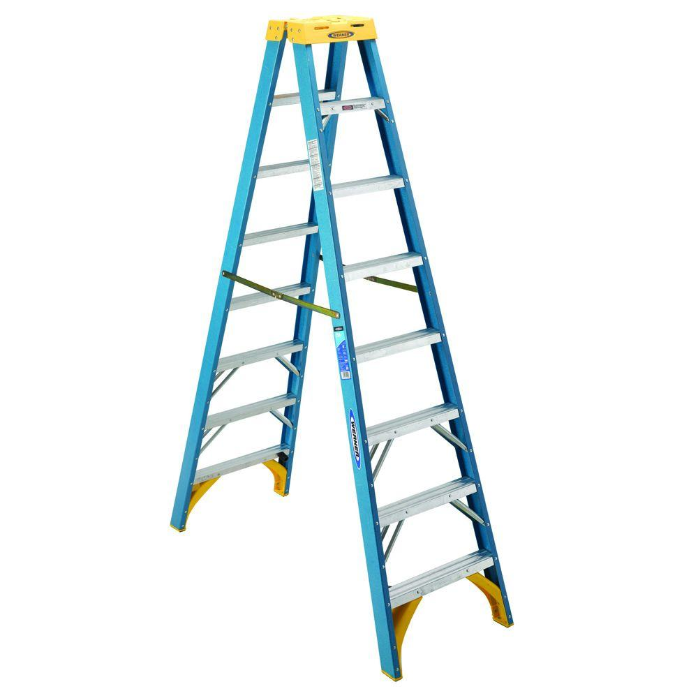 Werner 16 ft. Fiberglass Twin Step Ladder with 300 lb. Load Capacity ...