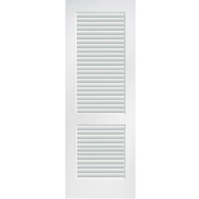 30 in. x 80 in. Primed Composite MDF Full Louver Over Louver Interior Door Slab