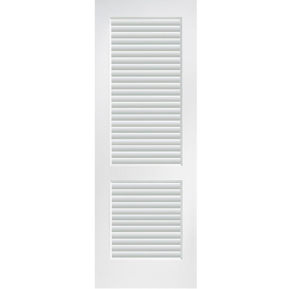 Mmi Door 34 In X 80 Primed Composite Mdf Full Louver Over