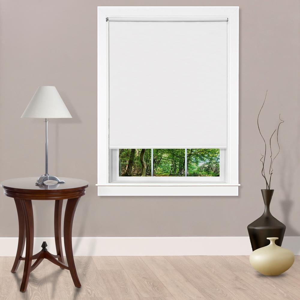 Tear Down Cut-to-Size White Cordless Room Darkening Telescopic Width Vinyl Window Shade 73 in. W x 72 in. L