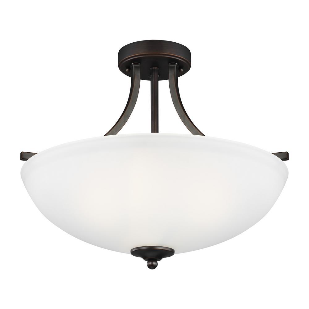 Geary 3-Light Burnt Sienna Semi-Flushmount Convertible Pendant with LED Bulbs