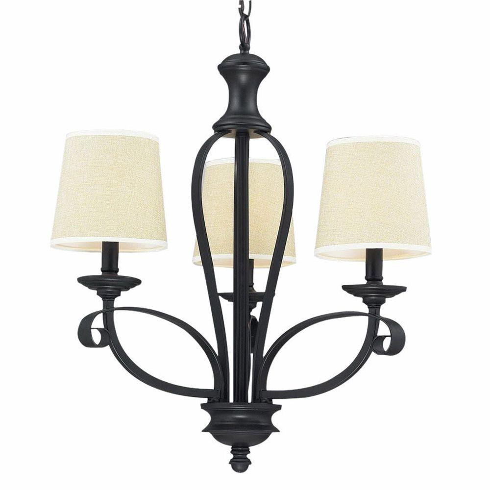 Filament Design Lawrence 3-Light Creme and Matte Black Incandescent Ceiling Chandelier