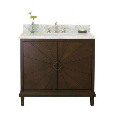 37 in. Vanity in Antique Coffee with Marble Vanity Top in Carrary White with White Basin