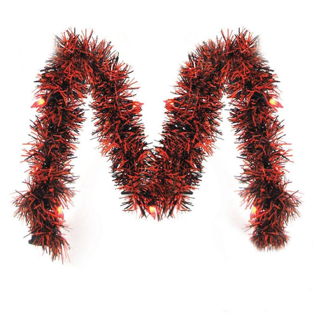 Brite Star 10 ft. Pre-Lit LED Orange and Black Tinsel Garland