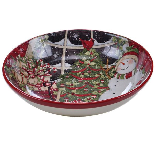 Certified International Snowman's Sleigh Pasta and Salad Serving Bowl 31329