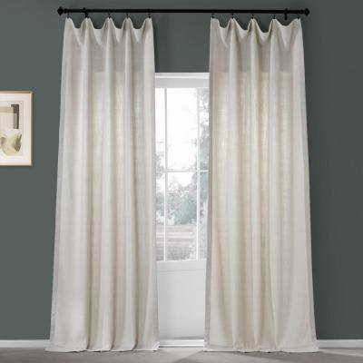 Country Cream Ivory Pebble Weave Faux Linen Light Filtering Curtain - 50 in. W x 108 in. L (1 Panel)