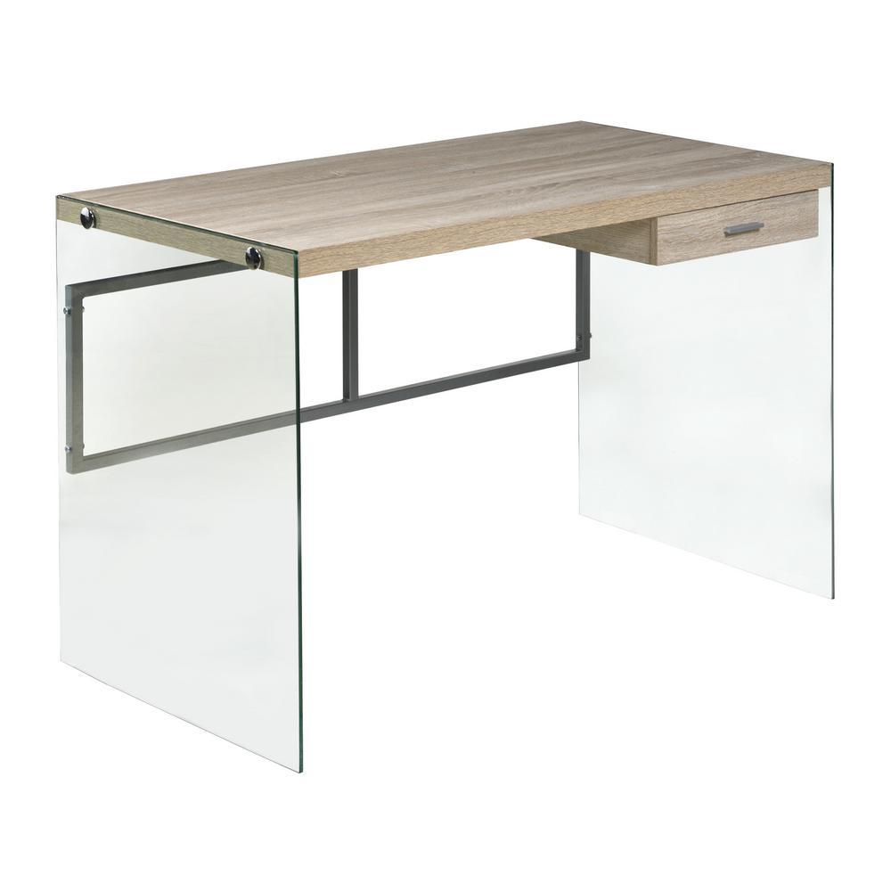 Light Oak Escher Skye Computer Writing Desk Glass