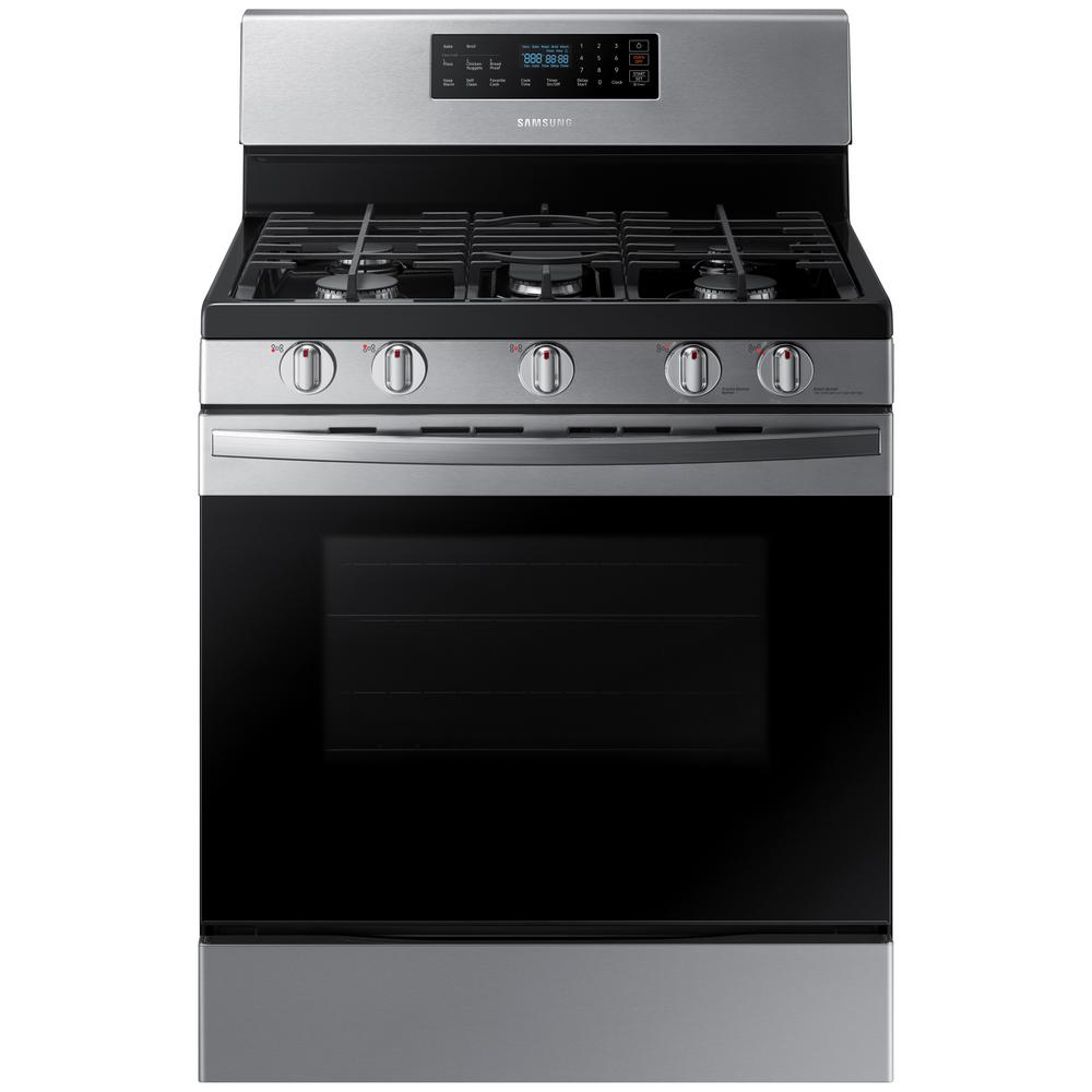 Samsung Samsung 30 in. 5.8 cu. ft. Gas Range with Self-Cleaning Oven in Stainless Steel, Fingerprint Resistant Stainless Steel
