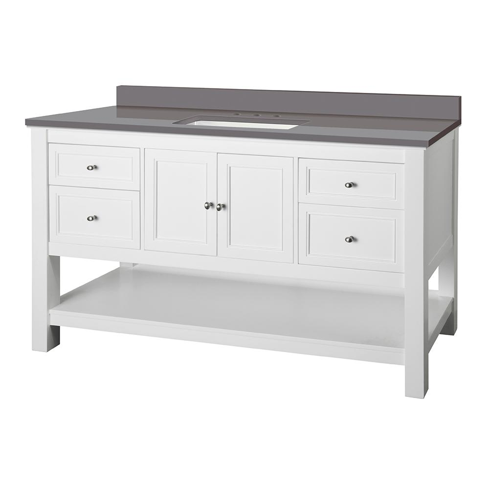 Home Decorators Collection Gazette 61 in. W x 22 in. D Bath Vanity Cabinet in White with Engineered Marble Vanity Top in Grey with White Sink