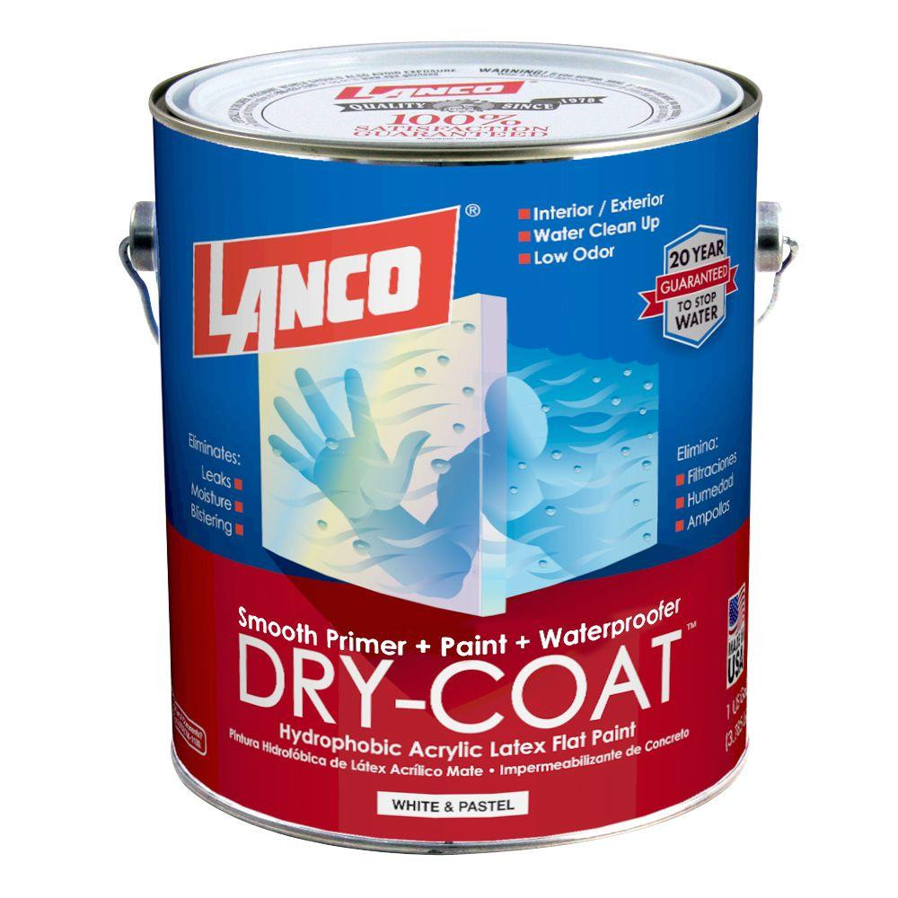 Dry-Coat 1 Gal. White and Pastel Flat Acrylic-Latex Interior and Exterior