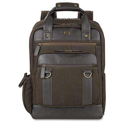 15.6 in. Brown Cotton/Vinyl Executive Notebook Carrying Case with Shoulder Strap