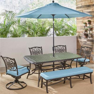 Traditions 6-Piece Aluminum Outdoor Dining Set with 4 Swivel Rockers with Blue Cushions, Umbrella and Stand