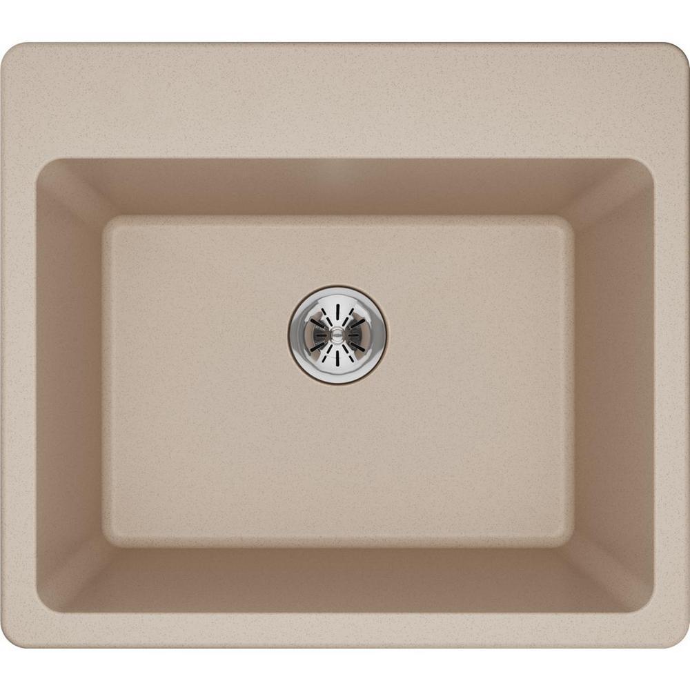 Quartz Classic Perfect Drain Drop-In 25 in. Laundry Sink in Putty