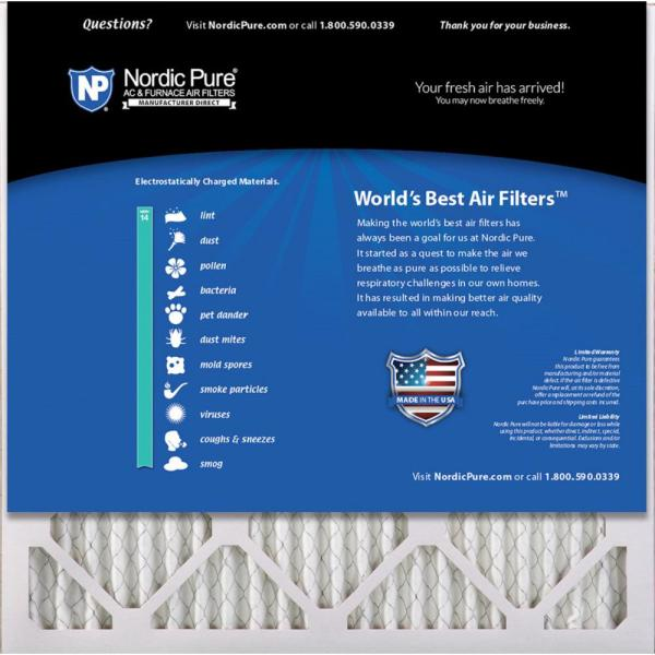 Nordic Pure 20x20x1 MERV 14 Pleated AC Furnace Air Filters 20x20x1M14-2 2 Piece
