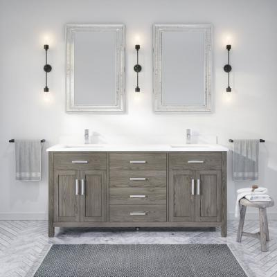 Kali 72 in. W x 22 in. D Bath Vanity in Gray ENGRD Stone Vanity Top in White with White Basin Power Bar and Organizer