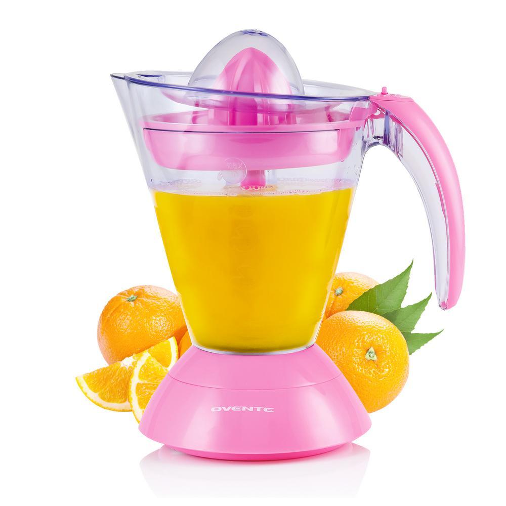 34 oz. Pink Electric Citrus Juicer 2 Auto-Reversing Cones Capacity, Pressure-Activated, Strainer, Pulp Control