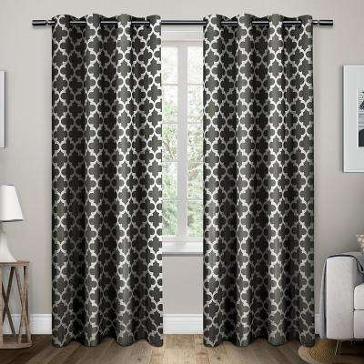 Neptune 54 in. W x 96 in. L Cotton Grommet Top Curtain Panel in Black Pearl (2 Panels)