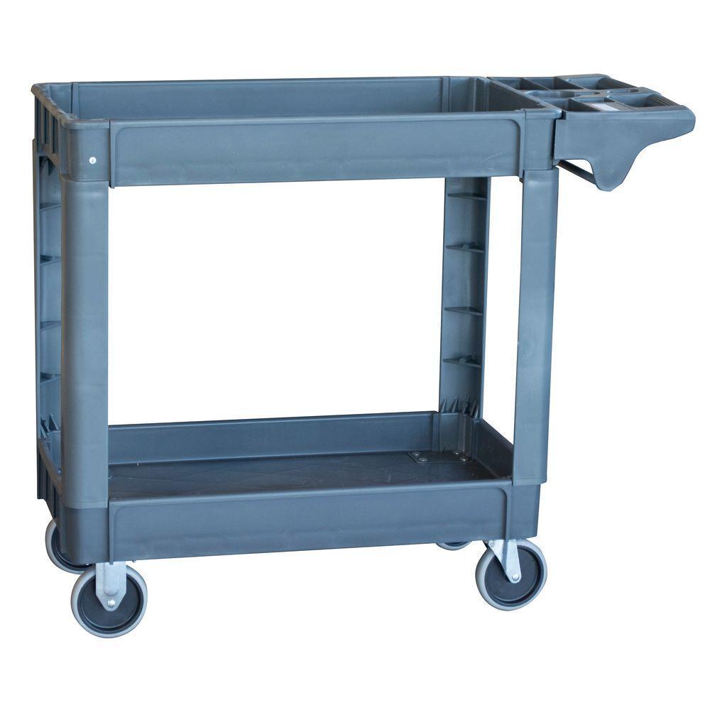 2-Shelf Heavy Duty 4-Wheeled Utility Service Cart in Gray with 550 lb. Capacity